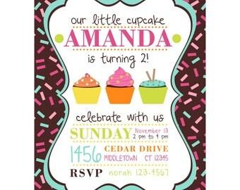 cupcake party invitation, birthday invite, cupcake birthday party