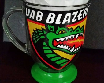 UAB Blazers hand painted coffee mug