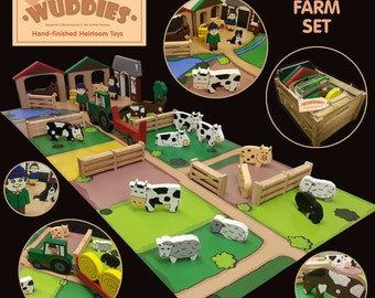 Wuddies Farm - complete set of hand painted wooden heirloom toys