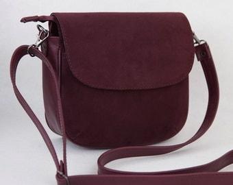 Small bag Woman bag Leather bag Wine-coloured bag Crossbody bag Shoulder bag Handbag Purse