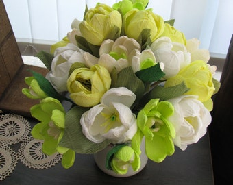 White yellow paper tulips bouquet, Paper bridal bouquet magnolia, Tulips and magnolias wedding bouquet, Mother's day gift Crepe paper flower