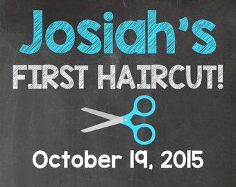 First haircut announcement sign, boy's first haircut printable chalkboard sign, photo prop, personalized sign, baby's first haircut