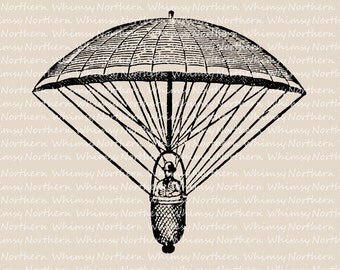 Vintage Parachute Clip Art - Victorian Parachute Illustration - Parachute Stamp - Parachute Printable - history of flight - commercial use