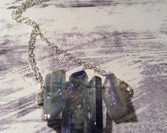 Natural Crystal Quartz Minimalist Necklace, Natural Stone Minimalist Necklaces