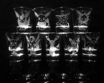 Pokemon Eevee Evolution Shot Glass Set of 9 -Flareon -Vaporeon -Jolteon -Umbreon -Leafeon -Glaceon -Sylveon -Espeon