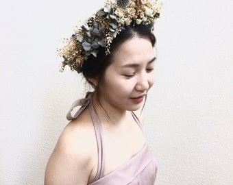 Luawk - Made To Order - All Natural Flower Crown - Bridal, Floral Garland Boudoir, Flower Girl Crown, Natural Bridal Crown