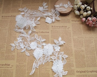 White Lace Appliques Venice Lace Flower Collars Corsage Costome Decor Lace Patches 1 pcs YL350