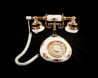 Royal Albert Old Country Roses Very RARE U.S. Push Button Telephone
