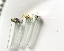 2 Lots 40MMx10mm Transparent Glass Wishing Bottle Pendant