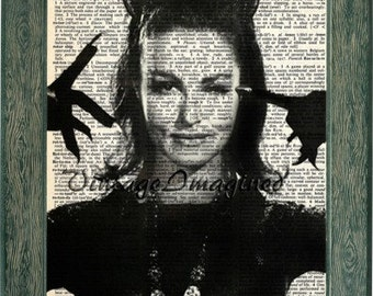 Julie Newmar as catwoman print art on 8x10 upcycled dictionary page 8x10