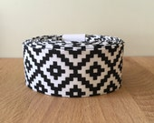 "Quilt Binding- Black and White Aztec Print 1.25"" double-fold cotton quilt binding- 6 yard roll"