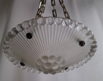 Art Deco Rene Lalique Perles plafonnier hanging glass lamp