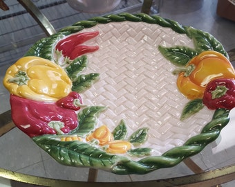 Fitz & Floyd Pepper Plate with White Basket Weave