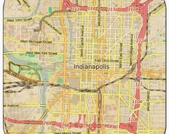 Indianapolis Vintage Map Coasters