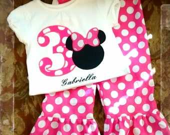 Minnie Mouse Pink Birthday OUTFIT Custom Boutique Shirt & Ruffled Pant Set 1st 2nd 3rd 4th 5th Birthday 3 6 9 12 18 24 month 2t 3t 4t 5t 6 7