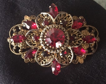 Super Sale!! Gorgeous Ruby Red Vintage Brooch