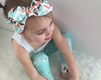 Coral/Mint Feather Knotted Headband
