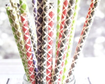 DELIGHTFUL DAMASKS Themed Mixed Paper 25 Pack Drinking Straws, Purple, Black, Red, Gold, Green White Damask