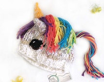 Rainbow unicorn hat - Warm winter hat - Christmas gift for teen - Gifts for friends - Kawaii - Hand knit items - Adult sized character hat