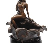 Stunning Bronze of a Beautiful Naked Lady Resting on a Lily pad signed by Pompon