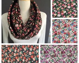 Floral infinity scarf cabbage rose print loop scarf long circular circle scarf Black Brown Blue Cream scarf flower print scarf
