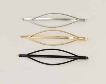 set pack of 3 silver gold black oval outline bobby bobbi pins clip barrette hairpin accessory