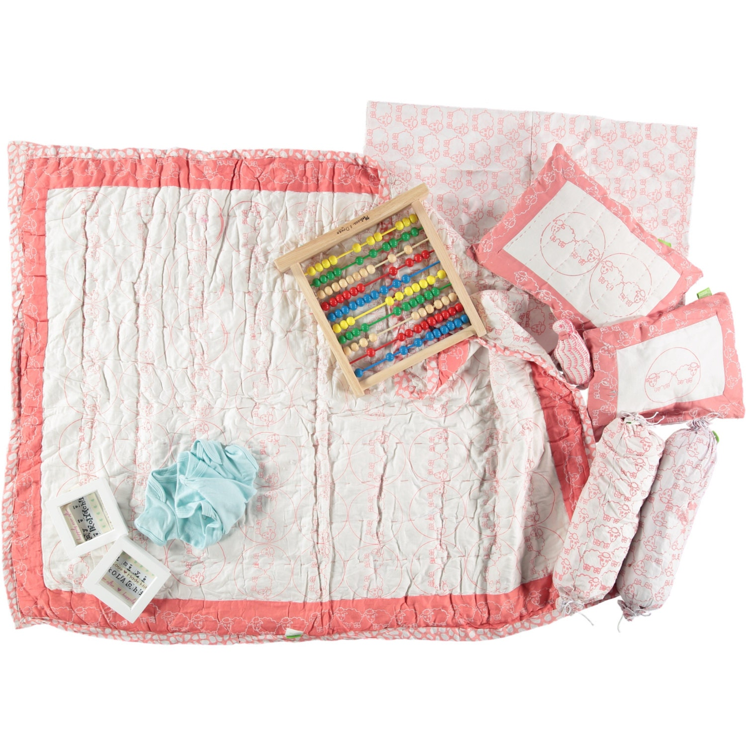 Pink Sheep Baby Quilt Baby Pillow Cot Bedding Set Organic
