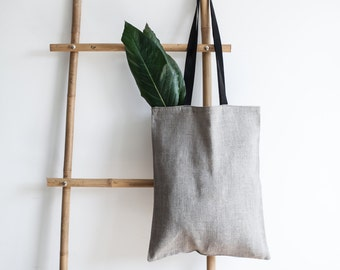 Linen Tote Bag / Natural Linen Bag / Grey Bag / Tote Bag