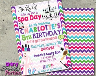 SPA BIRTHDAY INVITATION - Spa Party Invitation - Spa pamper party - Girl's Sleepover Invitation - Pamper Party Invite - Spa Invite Slumber