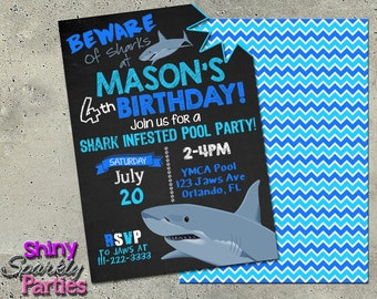 Shark Invitation Shark Invite Shark Party Shark Birthday