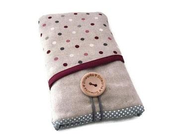 LG V10 phone case / Lg G4 case sleeve / Lg G5 fabric cover / LG G3 pouch / LG G2 case -  Linen phone cover, cherries pockets