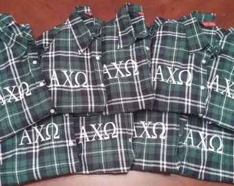 Monogrammed Green Plaid Flannel