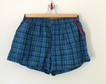 Vintage 80s Blue Plaid Pocket Shorts with Red Detail / Sivar Italy Checked Squared Patterned