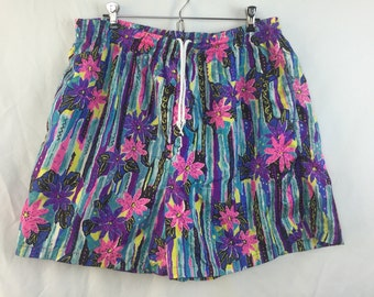 Vintage 80s Colorful Neon Swim Trunks / Printed Floral Board Shorts / Pink Purple Green Zig Zag Shorts / Summer / Pool Party / Biking