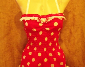 Cute,red/white polka dot halterneck playsuit with cherry charm! Pin-up,rockabilly,1940's/50's,beachwear,festivals,vintage,retro! XX