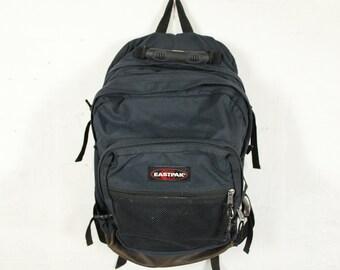 Eastpak Rucksack Backpack Navy Blue Canvas Leather Bottom Bag