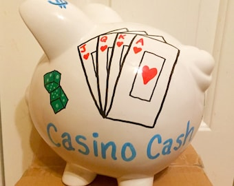 Casino Cash Hand Painted Piggy Bank