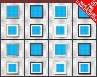 Square #C06 PNG Frame Collection White Black Brown Wooden Matted Unmatted Frames, 16 Print Display PNG frames, Opening square, Metal rope