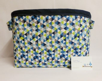 Large fabric storage bin, basket. With handles. Teal and Lime Triangles cotton fabric.