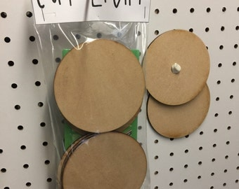 12 x 4 inch laser cut wooden MDF Circles with free 3 oz Sticky Putty