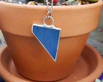 Vibrant Blue Butterfly Wing Necklace