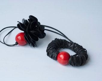 Jewelry  Set, Rubber Necklace, Ruber Bracelet, Extraordinary, Statement, Contemporary Necklace