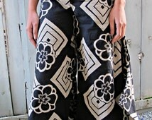 New Diamond Sakura Print Wide Leg Dress Pants