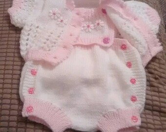 Baby Knitting Patterns Cardi and Nappy cover with detachable bib Newborn to 0-3mths Boy or Girl