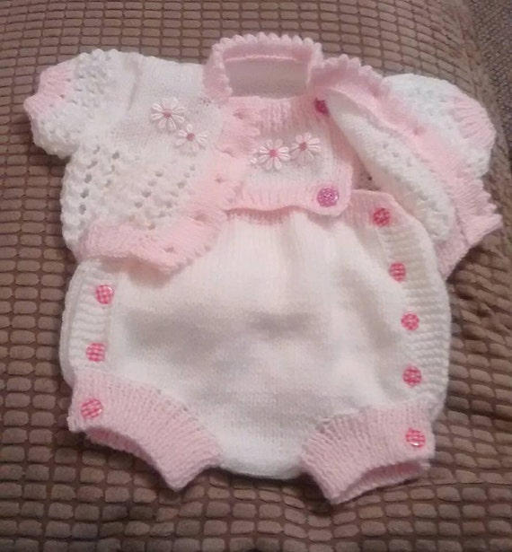Baby Knitting Pattern Cardi and Nappy cover with detachable bib Newborn to 0-3mths Boy or Girl. Knitted in DK or 4ply
