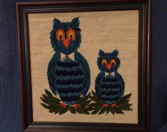 Vintage Needlepoint Owl Picture