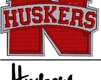 Machine Embroidery Design - Nebraska Huskers Logo (2 sizes) & Text - Big Ten