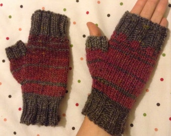 Grey, red and pink striped fingerless gloves, knit wool women's wrist warmers