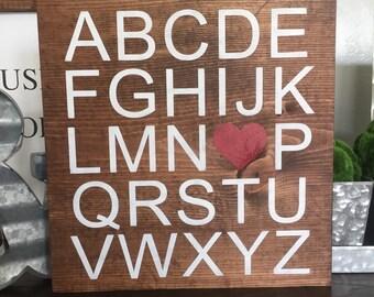 RTS Sale ABC Love wood sign, home decor