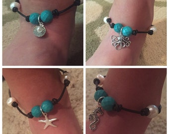 Leather & Pearl Anklet